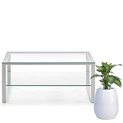 Mesa de centro pies de acero y sobre en cristal templado 90cm, Selección Cabana