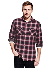 2in Longer North Coast Pure Cotton Crêpe Checked Shirt
