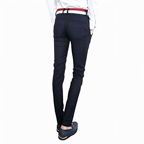 Easy Men's cool Slim Fit Pencil Straight Casual long pants blue