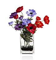 Artificial Mixed Anemone in Tank Vase