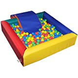 Children's Implay Soft Play PVC Foam Square Multi-Coloured Ball Pool Activity Toy - Including Steps & Slide