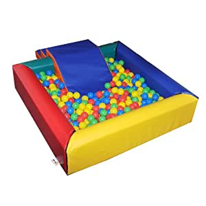 Implay® Soft Play Children's Multi-Coloured Square Ball Pool Activity Toy - 610gsm PVC / High Density Foam - 120cm x 120cm x 30cm (Steps & Slide NOT included)