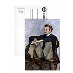 Portrait of Auguste Renoir (1841-1919), 1867 (oil on canvas) by Jean Frederic Bazille - Postcard (Pack of 8) - 6x4 inch - Art247 Highest Quality - Standard Size - Pack Of 8