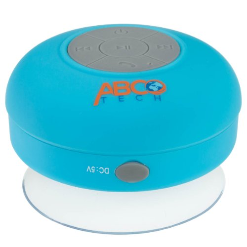 Abco Tech Water Resistant Wireless Bluetooth Shower Speaker With Suction Cup And Hands-Free Speakerphone, Aqua back-959805