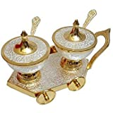 Bismillah Exports Handicrafts Brass Bowl, Spoon & Tray Set, 7 PCs, Silver & Gold Color