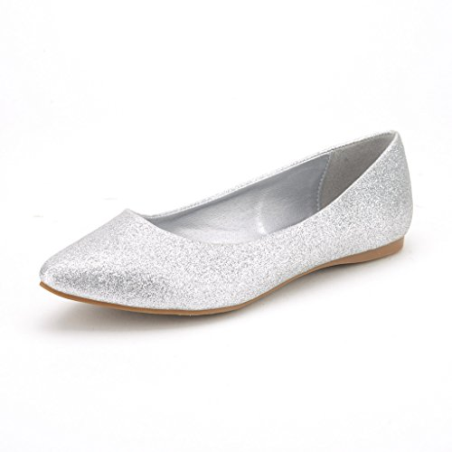 DREAM PAIRS SOLE CLASSIC Women's Casual Pointed Toe Ballet Comfort Soft Slip On Flats Shoes SILVER GLITTER SIZE 10