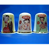 Birchcroft Porcelain China Collectable - Set of Three Thimbles - Betty Boop & Coca Cola Posters