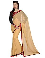 Designersareez Women Beige Faux Georgette Saree With Unstitched Blouse (1612)