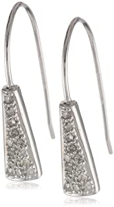10k White Gold Diamond Accent Pave Eurowire Earrings (1/8 cttw, I-J Color, I1-I2 Clarity)
