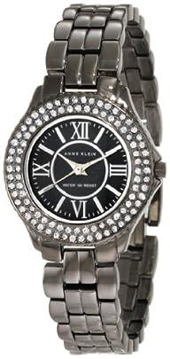 Anne Klein Women's 10/9537GMGY Swarovski Crytals Accented Gunmetal Tone Bracelet Watch