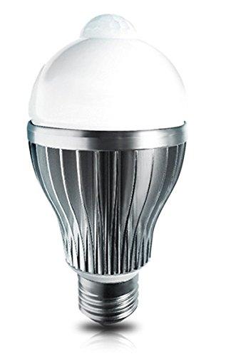Led4U LED8090IR-WW LED Birne Lampe mit Bewegungsmelder PIR Sensor E27 8W 800Lm warm