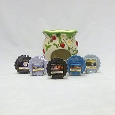 Yankee Candle - 5x Fresh Wax Tarts + Strawberry Fields Wax Tart Burner (Scents Included: 1x Midsummer's Night, 1x Coastal Waters, 1x Black Coconut, 1x Turquoise Sky and 1x River Valley) from Yankee Candle