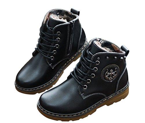 Générique enfants garçon chaussure cuir épaissi d'intérieur d'hiver mi-bottes chaud bottes en cuir pour hiver automne