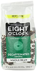 Eight O'Clock Coffee Decaffeinated Whole Bean Coffee, 36-Ounce