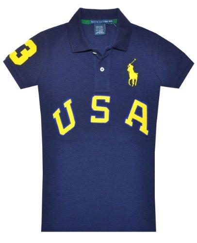 Polo Ralph Lauren Usa Pique Polo Shirt Short Sleeve Blue Size S front-733491