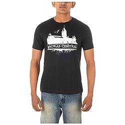 Chennai Gaga Men's Round Neck Cotton T-shirt Madras Central 112-3-802-Black-M