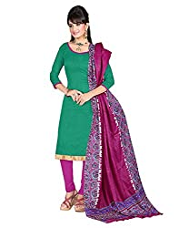 Yehii Women's Silk Turquoise Plain / Solid dress material Unstitched Salwar Kameez Dupatta for women party wear low price Below Sale Offer