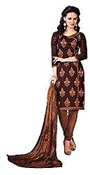 Khoobee Presents Embroidered Chanderi Dress Material(Wine,Orange)