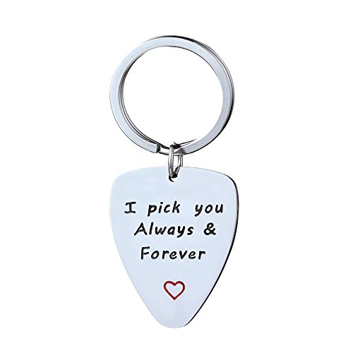 Men Guitar Pick & Key Chain - I Pick You Always & Forever Music Gift Anniversary Wedding Stainless Steel