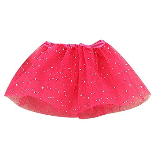 Amlaiworld Vestito per bambini,Principessa stelle paillettes danza Balletto Tutu gonne (rosa caldo)
