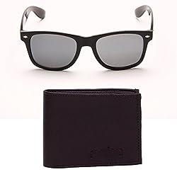 Random 24C Mens Wallet and Black Wayfarer Sunglass Combo (Brown)(9C12WFWLBRN)