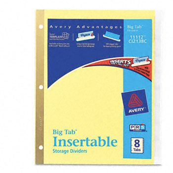 Avery® WorkSaver® Big Tab Paper Dividers INDEX,BNDR,11X8.5,8CLR/ST CK11 (Pack of50)