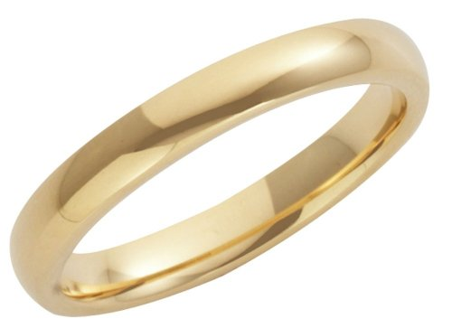 Wedding Ring, 9 Carat Yellow Gold Heavy Court Shape, 3mm Band Width