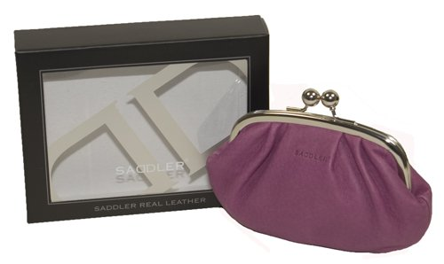 Saddler Leather Clasp Top Coin Purse , Amethyst