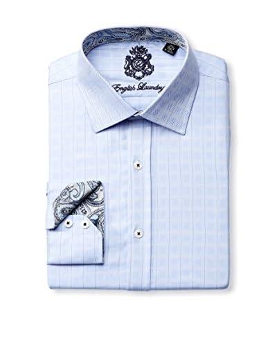 English Laundry Men's Box Check Dress Shirt