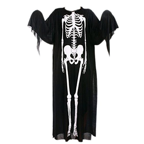 Scary Skeleton Skull Bone Ghost Halloween Fancy Party Adult Costume Cloak Capes