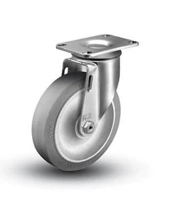 """1 Colson Swivel Caster w 5"""" TPE Gray Soft Rubber Wheel"""