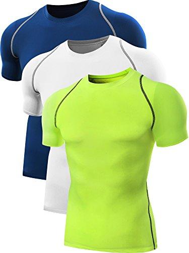 Neleus - Maglietta sportiva - Maniche corte  -  uomo 801# 3 Pack:Green,White,Blue X-Large