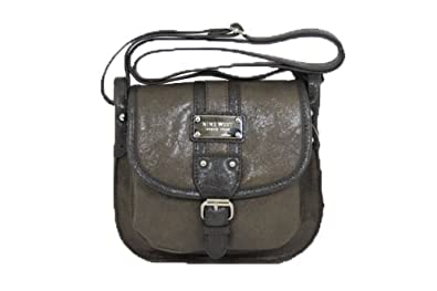 Nine West Saddle Flap, Small Crossbody, Color Olive/Chocolate