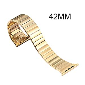Apple Watch Band,Soyan Latest 38/42mm Stainless Steel Metal Replacement Strap Wrist Band Replacement W/ Metal Clasp for Apple Watch & Sport & Edition iWatch With Adapter Clasp (42mm Gold)