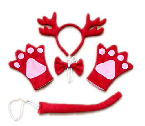 [Hip Mall Xmas Party Dragon Animal Costume Headband Gloves Bow Tail] (Chinese Dragon Parade Costume)
