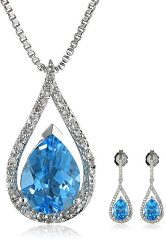 Sterling Silver Swiss Blue Topaz And Diamond (1/4Cttw, I-J Color, I2-I3 Clarity) Drop Earrings And Pendant Necklace Jewelry Set
