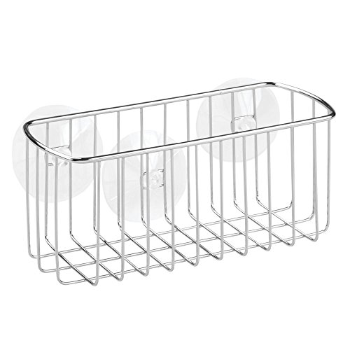 InterDesign Rondo, Suction Bathroom Shower Caddy Basket for Shampoo, Conditioner, Soap - Rectangular, Stainless Steel