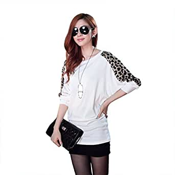 chic chic t shirt longues manches femme pull over grande taille imprim l opard. Black Bedroom Furniture Sets. Home Design Ideas