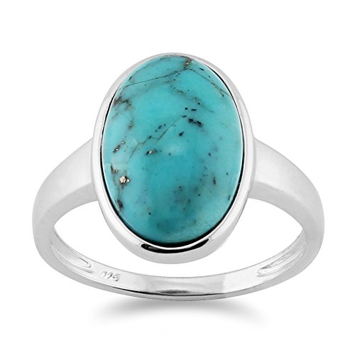 Gemondo Turquoise Ring, 925 Sterling Silver 3.50Ct Turquoise Cabochon Oval Bezel Set Cocktail Ring