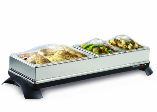 Toastess TWB454 Cordless Buffet Server/Warming Tray with 4 Stainless-Steel Chafing Dishes