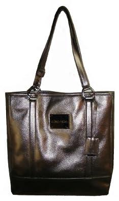 Calvin Klein Women's Genuine Leather Tote Handbag, Large, Pewter