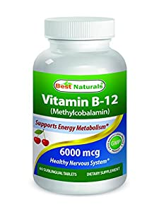 Best Naturals Vitamin B-12 as Methylcobalamin (Methyl B12), 6000 mcg Tablet, 60 Count