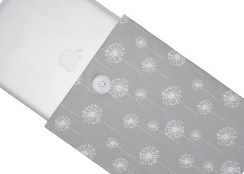 #>>  Kuzy - Dandelion GRAY Handmade Cotton Sleeve Cover 15-Inch for MacBook Pro 15.4