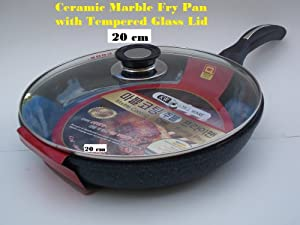 Ceramic Marble Coated Non Stick Cast Aluminium Fry Pan with Lid, 20 cm (8 inches)