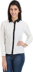Bhama Couture Women's Button Down Shirt (White, 42)