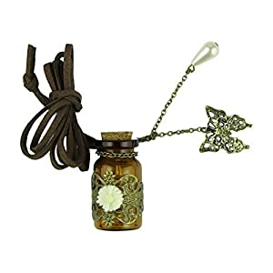 Voberry® Romantic Wishing Bottle Pendant Necklace Decorative with Flower Butterfly Pearl,Full of Good Wish for You