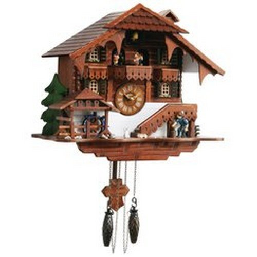 Kassel Large Cuckoo Clock with Multiple Moving Facets People Moving Water Wheel
