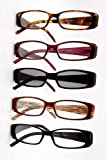 Spring Hinge Plastic Reading Glasses +1.50 (5 Pairs) , Includes Sunglass Readers