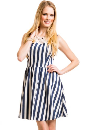 Lace Pinstripe Dress In White/Blue