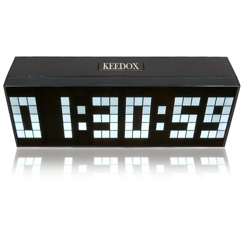 KEEDOX® Digital Large Big Jumbo LED Wall Desk Alarm Clock, White Light Calendar Time Clock with Snoozing Sounds